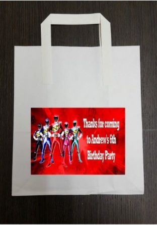 4 x Power Rangers Birthday Party Bags with Personalised Sticker